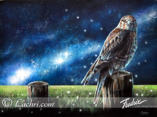 Surreal hawk acrylic painting