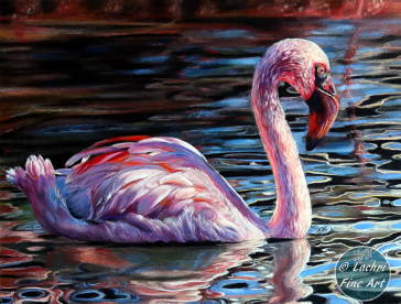 flamingo colored pencil painting