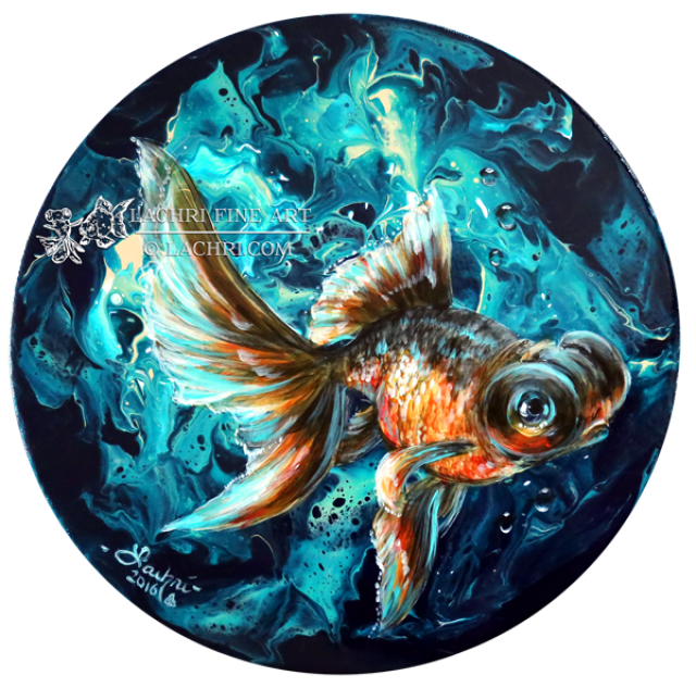 Goldfish painted in Acrylics over Liquitex Pouring Medium