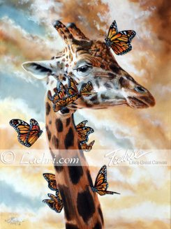 Giraffe and monarch butterfly oil over acrylic painting