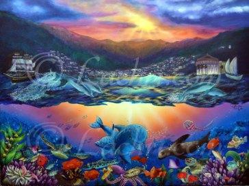 surreal acrylic marine painting