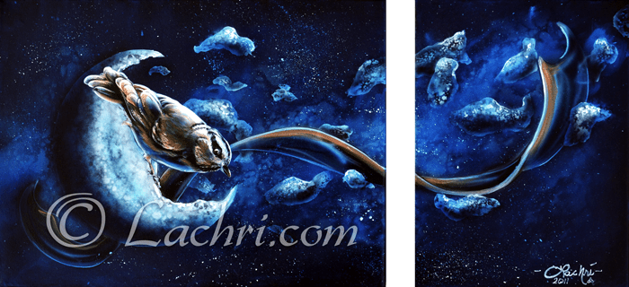 surreal chickadee and space acrylic painting