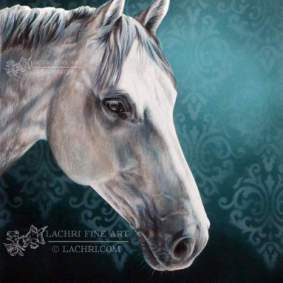 White horse in colored pencil against an airbrushed background