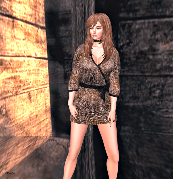 Prism Debbie Glitter Velvet Dress iin BROWN