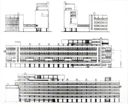 Guinsburg-Milinis: edificio Narkomfin. fachadas
