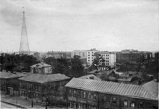 torre Shabolovka en su barrio, años 30