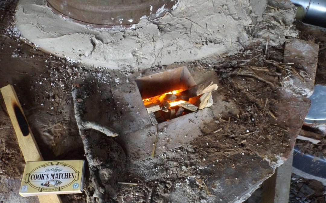Lighting the rocket mass heater