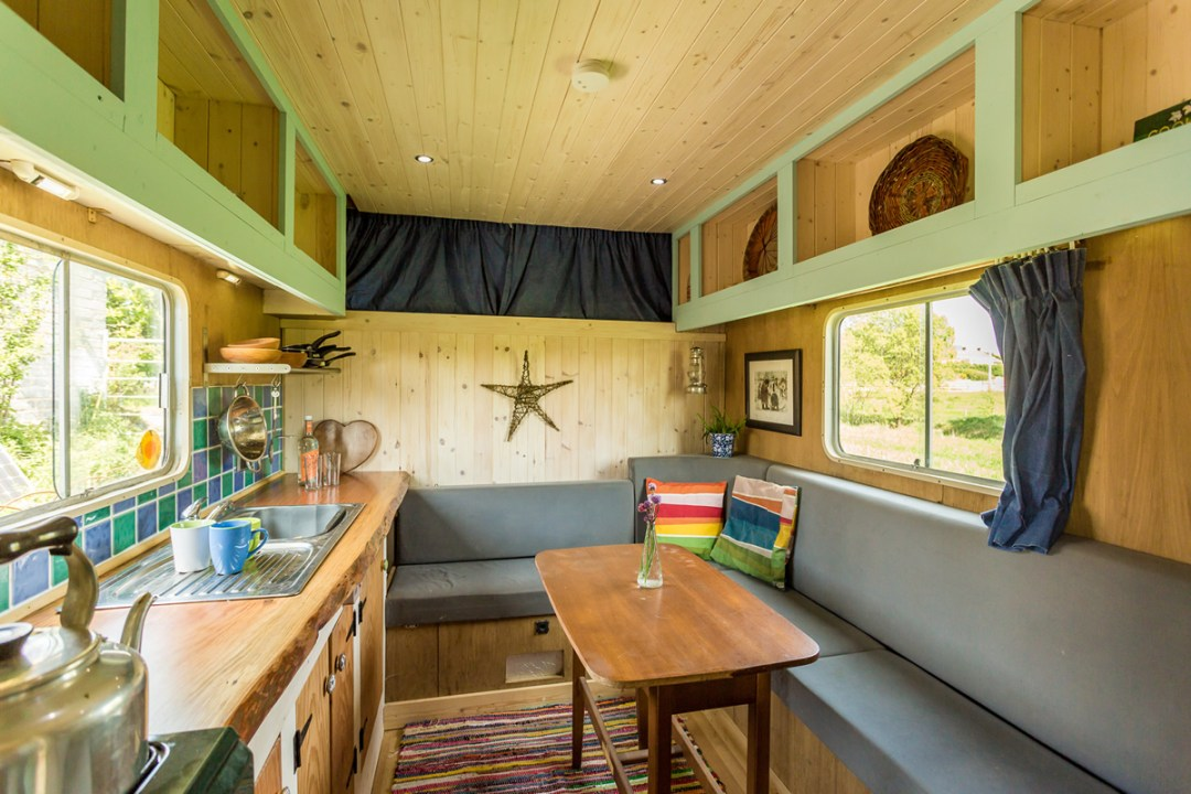 Kitchen diner in the off grid horse box
