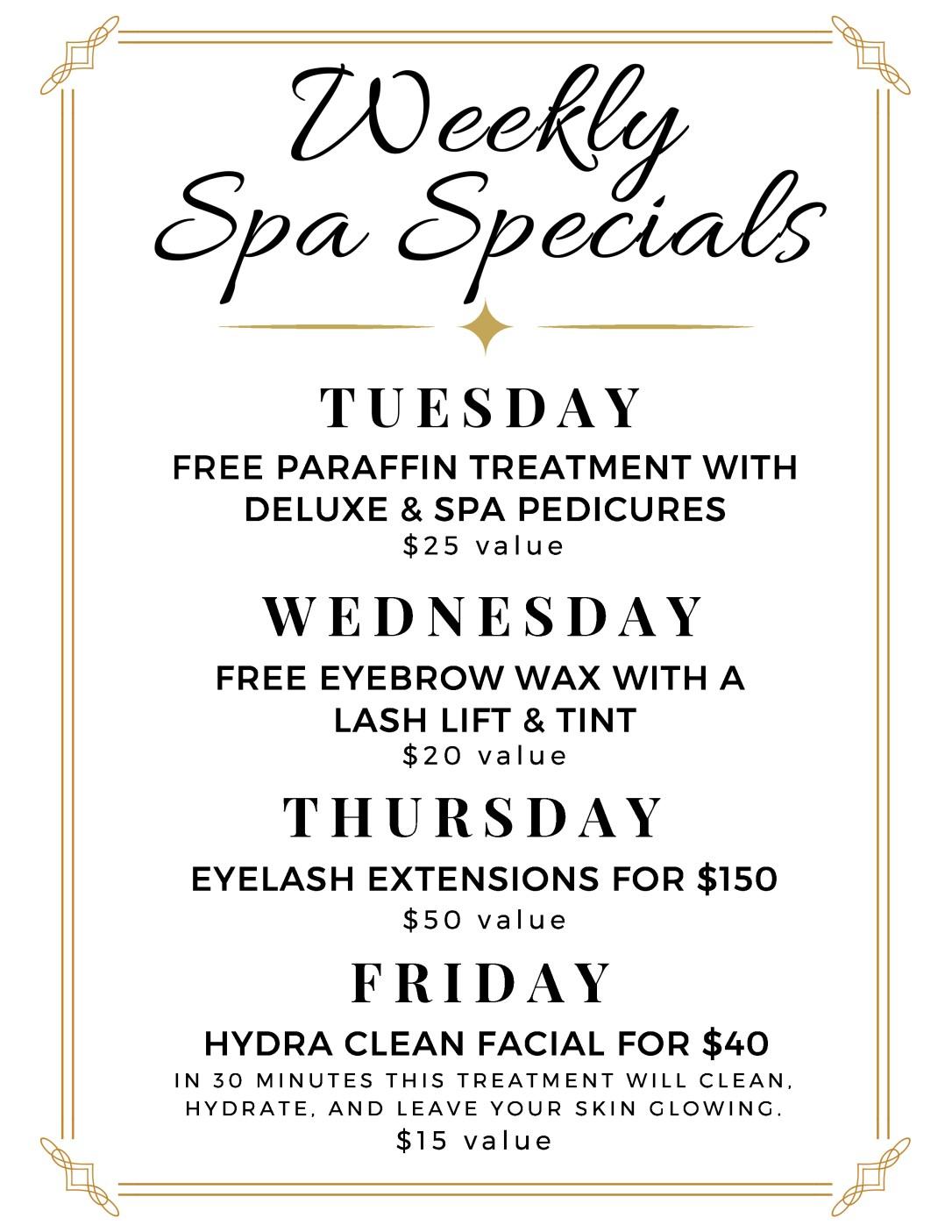 La Clinica Spa Specials Pedicure Paraffin Eyebrow Wax Lash Extensions Facial