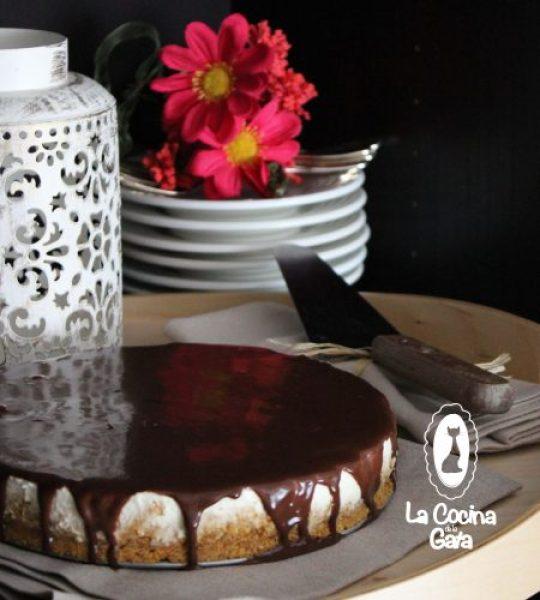 Tarta de queso y crema de chocolate y cardamomo