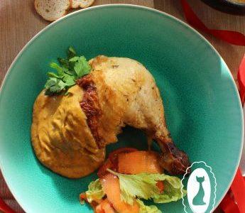 Pollo al horno con manzana y especies