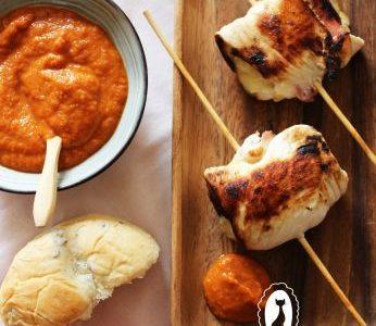 Brochetas de Pollo y Manzana con salsa Barbacoa