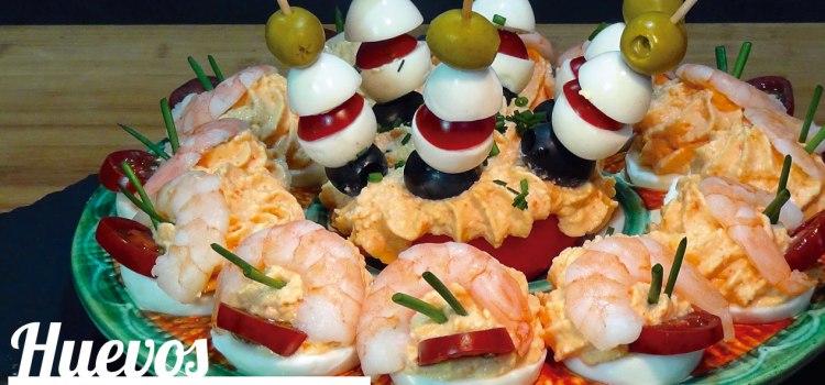 Huevos rellenos de crema de marisco