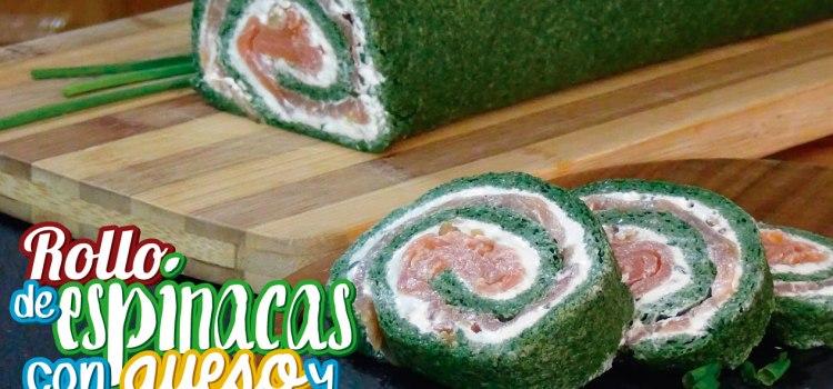 Brazo de gitano de espinacas con queso y salmón ahumado