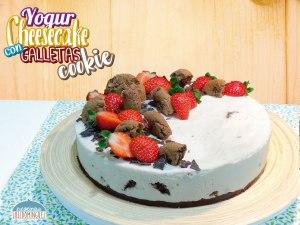 Tarta de yogur y queso con galletas cookies SIN HORNO - Cheesecake de yogur