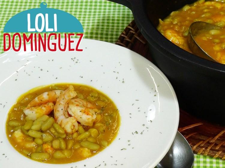Alubias o fabes verdinas con langostinos. Loli Domínguez