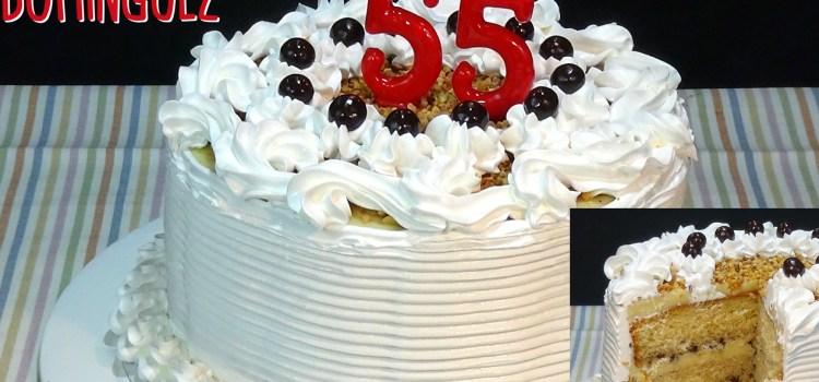 Tarta de cumpleaños con crema pastelera y merengue. Loli Domínguez