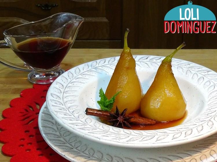 Peras al vino dulce y especias Receta tradicional ESPECIAL PARA NAVIDAD. Un postre ideal para servirlo después de una comida o cena abundante