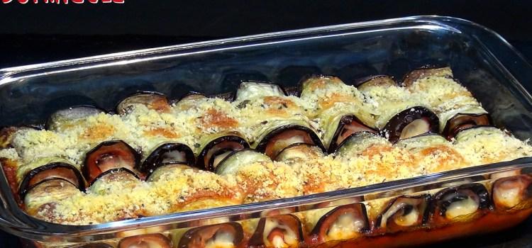 Rollitos de berenjena con jamón York y queso al horno. Loli Domínguez