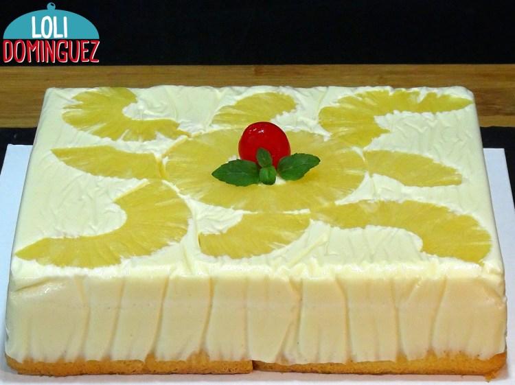 TARTA DE PIÑA (ANANÁS) FÁCIL Y SIN HORNO. Una deliciosa y jugosa tarta, con una textura tierna y cremosa que le hace ser una delicia. Una tarta con fruta