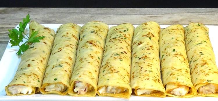 CREPES DE PATATA (PAPAS) RELLENOS DE ATÚN RECETA FÁCIL. Ideales para una comida o cena informal o para una fiesta donde podemos servirlos como aperitivo cortados en trozos