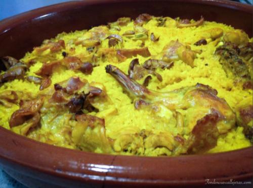arroz y conejo al horno