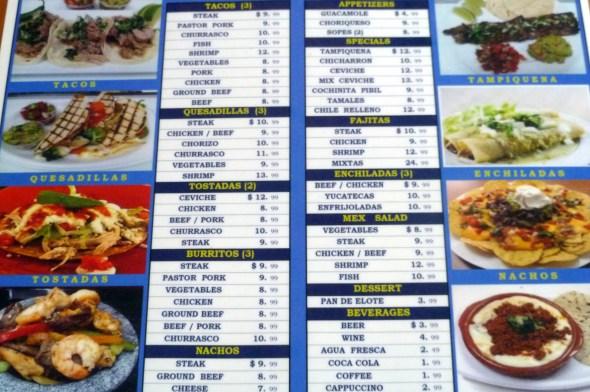 menu - tenango's