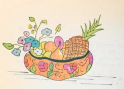 """""""JICALPEXTLE DE TEHUANTEPEC"""". Bowl made of a hollowed gourd decorated in a very similar way to those of Uruapan and Olinalá. Native women from the isthmus of Tehuantepec, Oaxaca use them to carry vegetables and fruits on their heads."""