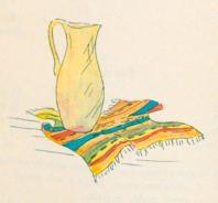 """""""SARAPITO DEL SALTILLO Y JARRON DE VIDRIO SOPLADO DE MONTERREY"""". Indian Blanket from Saltillo and glass pitcher from Monterrey….192"""