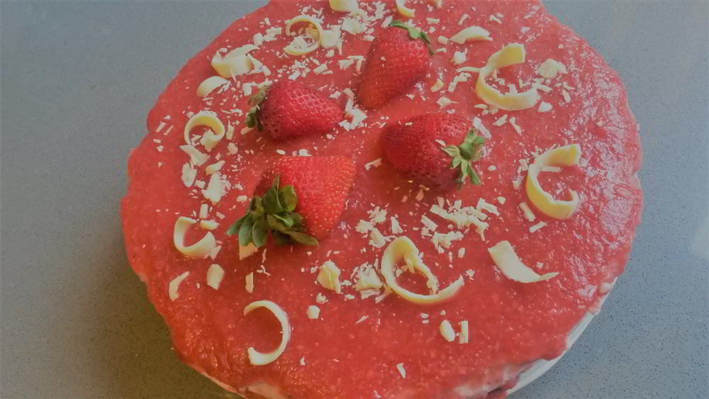 Tarta de queso y yogurt con fresas - Cheesecake allo yogurt e fragole