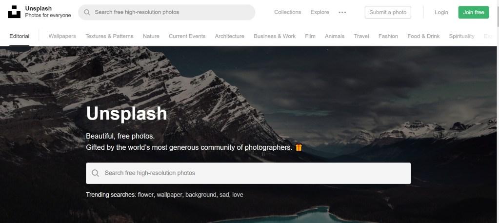 Banque d'images gratuites Unsplash