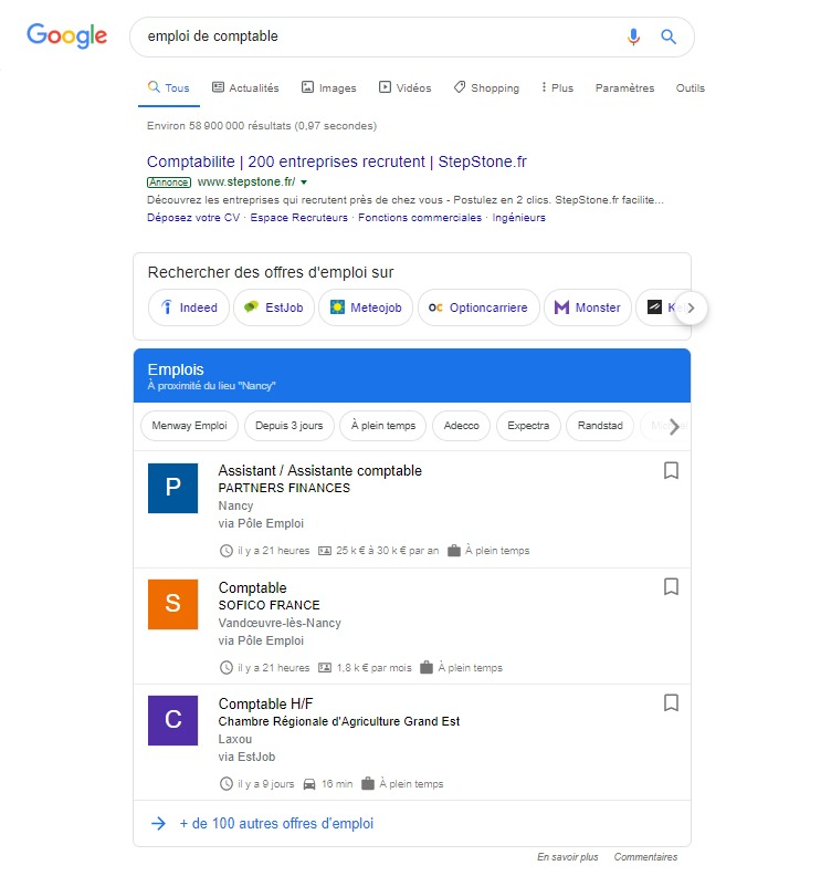 google for jobs offre emploi