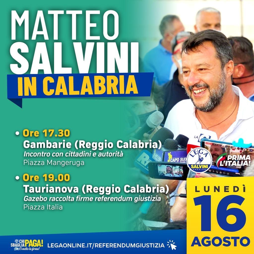 Saccomanno, Matteo Salvini unico leader nazionale a stare accanto ai calabresi