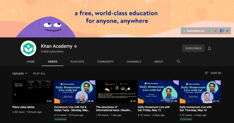 Khan's Academy Artificial Intelligence YouTube Channel