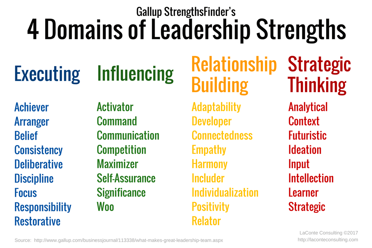 4 Domains Of Leadership Strengths Laconte Consulting