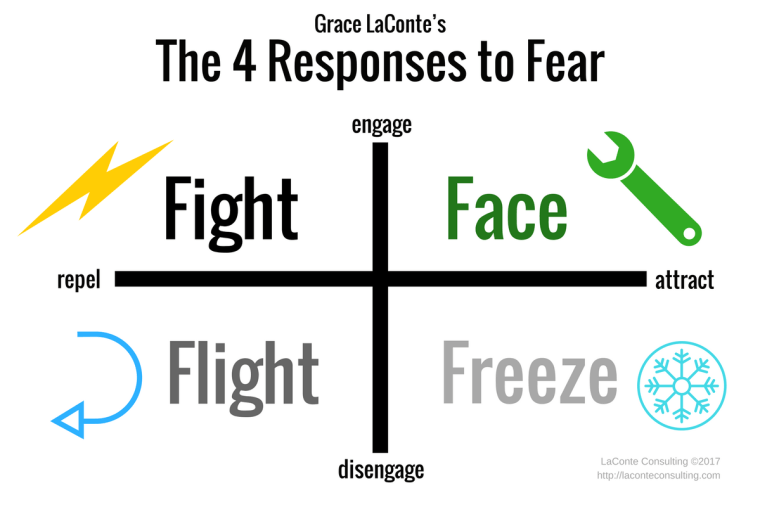 responses to fear, fight or flight, fight flight freeze, engage, disengage, repel, attract