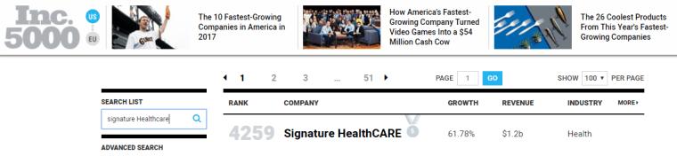 Inc 5000, fastest growing companies, 2017 list, Signature Healthcare, healthcare