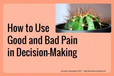pain, good pain, bad pain, decision-making, painful, management, strategic risk