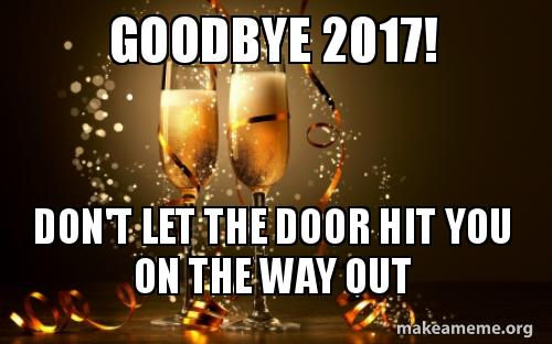 goodbye 2017, goodbye year, don't let the door hit you, year end, year end review, bad year, good year