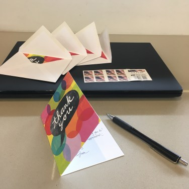 thank you, thank-you notes, thank-you cards, sending thanks, mailed card, hand-written, US stamps