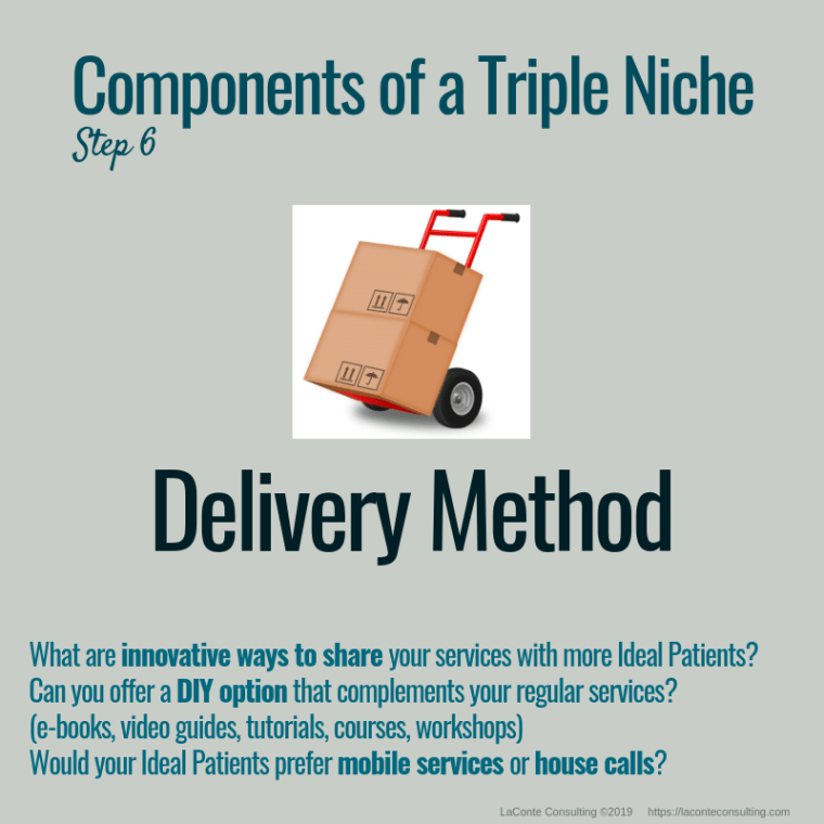 triple niche, niche, niche market, niche marketing, niche practice, practice niche, niche practitioner, demographics, delivery method, innovation, DIY option