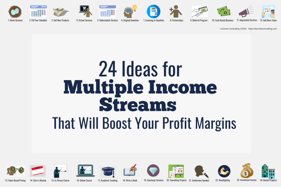 "Light blue background cover image ""24 Ideas for Multiple Income Streams That Will Boost Your Profit Margins"""