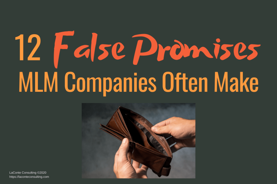 "Gray background with photo of empty wallet and title ""12 False Promises MLM Companies Often Make"""
