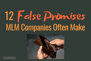 """Gray background with photo of empty wallet and title """"12 False Promises MLM Companies Often Make"""""""