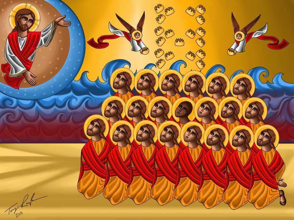 Icon the 21 Coptic New Martyrs of Libya, painted by Tony Rezk.