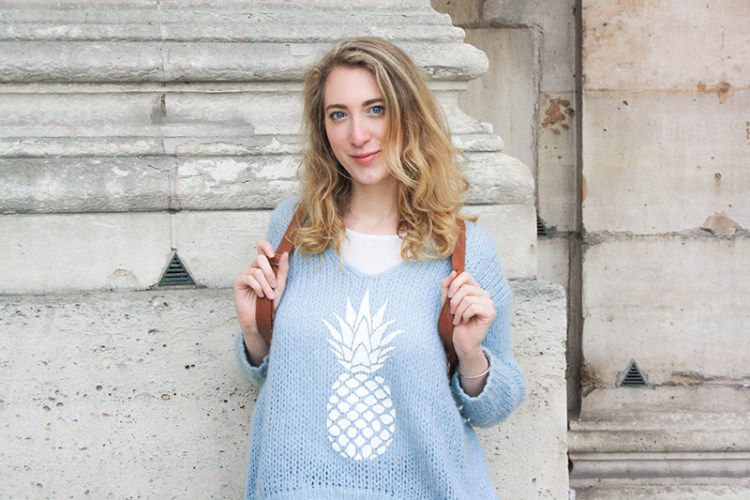 pull bleu ananas an famille