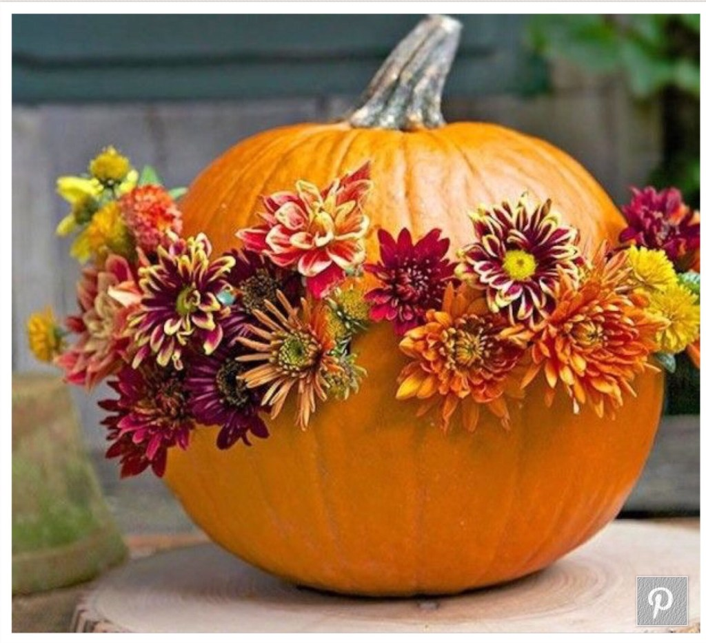 Flower Arrangement with pumpkins