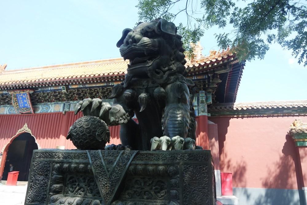 León, símbolo del emperador. El gran buda de Beijing