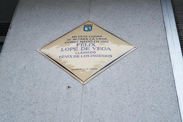 Placa calle Mayor, casa natal de Lope de Vega en Madrid
