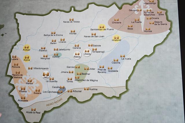 Mapa de los castillos de Jaén